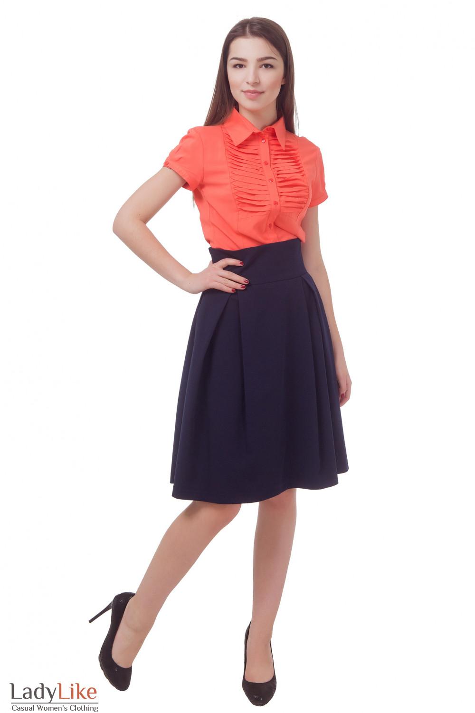 Купить юбку синюю в складку и высокой талией Деловая женская одежда