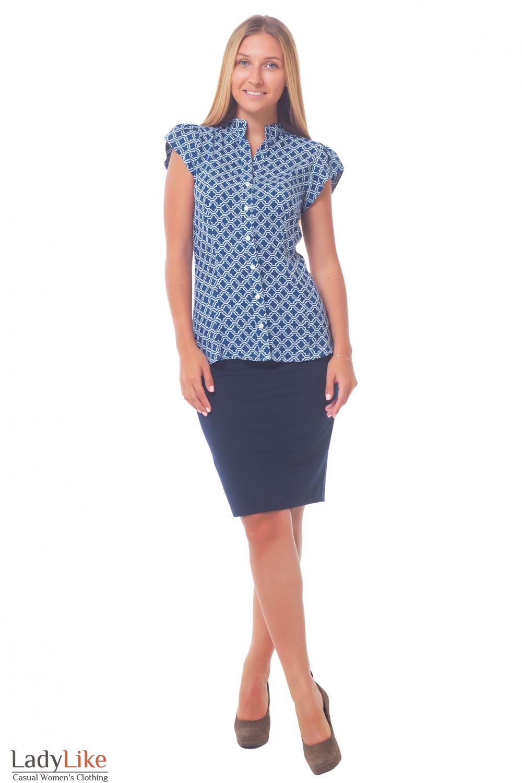 Купить юбку темно-синюю с фигурной кокеткой Деловая женская одежда
