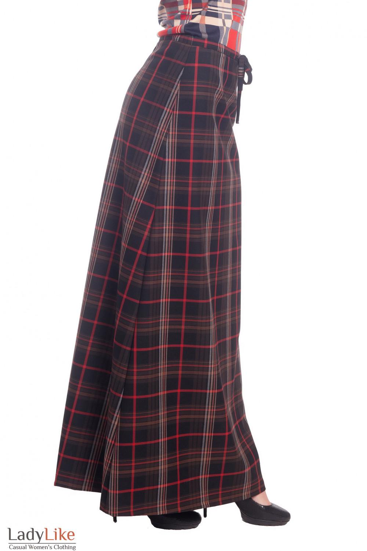 Купить длинную юбку теплую в красную клетку Деловая женская одежда