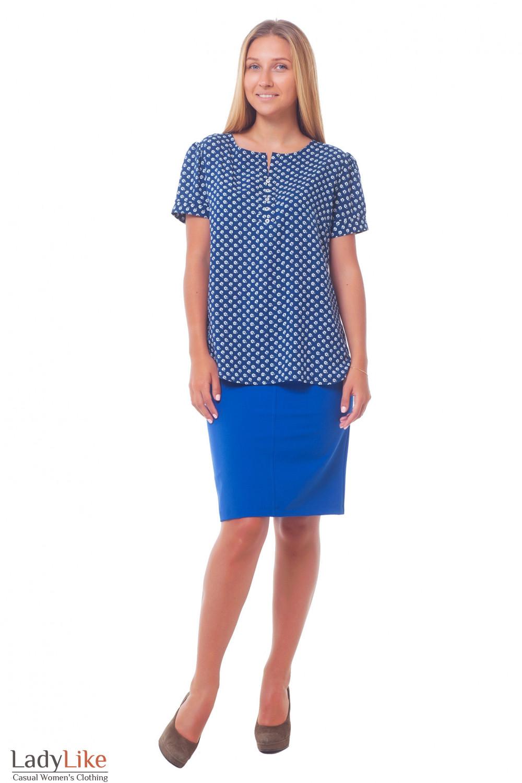 Купить юбку-карандаш ярко-синюю с карманами Деловая женская одежда
