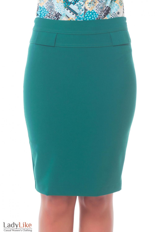Юбка зеленая с фигурной кокеткой Деловая женская одежда