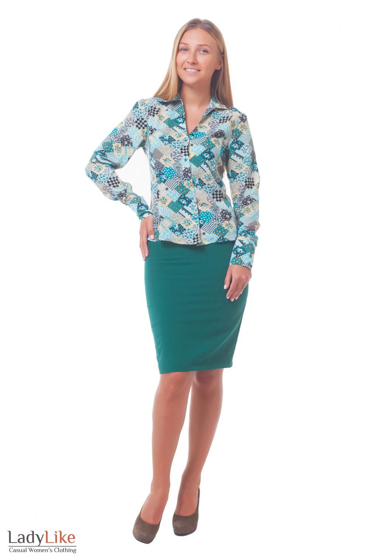 Купить юбку зеленую с фигурной кокеткой Деловая женская одежда