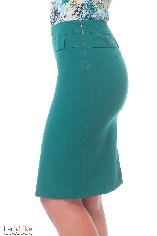 Купить зеленую юбку с широкими шлевками Деловая женская одежда