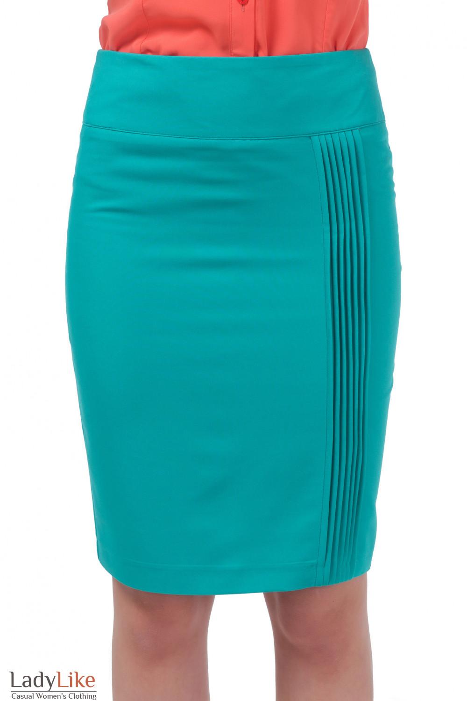 Юбка зеленая с вертикальными защипами Деловая женская одежда