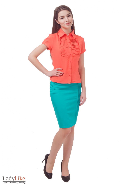 Купить юбку зеленую с защипами Деловая женская одежда
