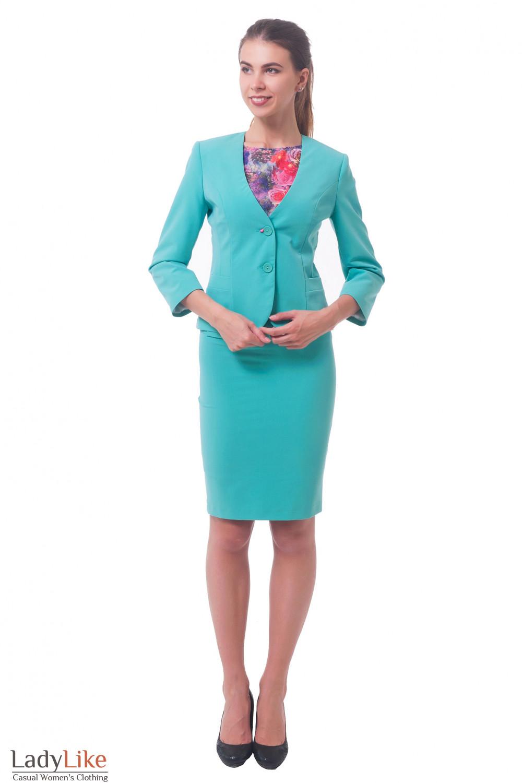 Купить бирюзовый костюм с юбкой Деловая женская одежда