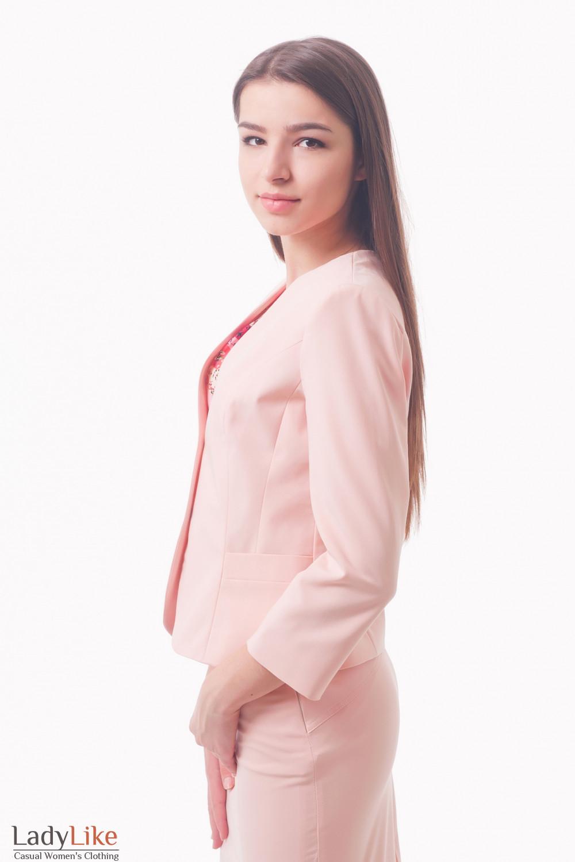 Купить жакет бледно-розовый без воротника Деловая женская одежда