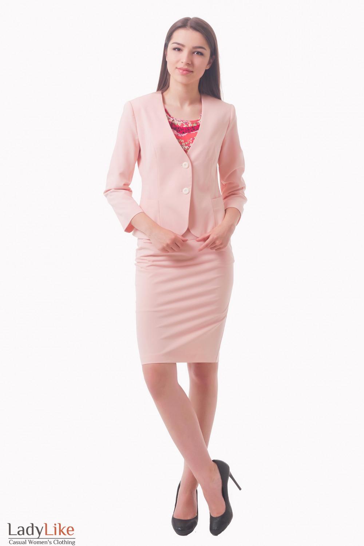 Купить бледно-розовый костюм с юбкой Деловая женская одежда