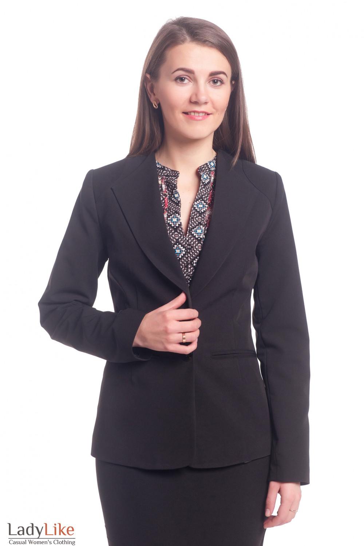 Жакет черный с латкой на плече Деловая женская одежда