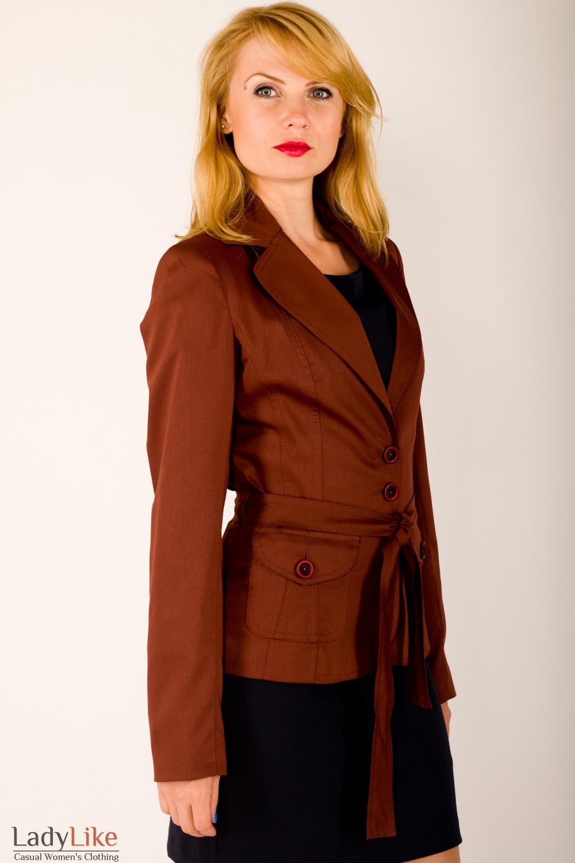 Фото Жакет коричневый с карманами Деловая женская одежда