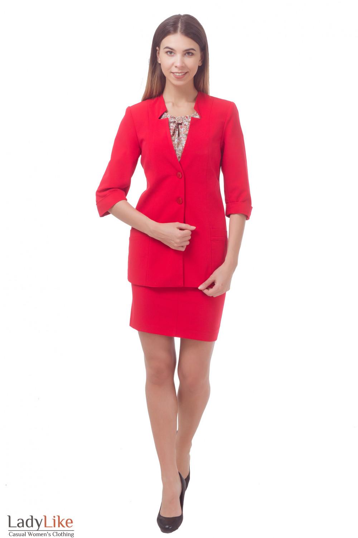 Купить яркий красний костюм Деловая женская одежда