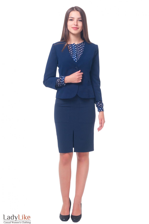 Купить жакет синий без воротника Деловая женская одежда