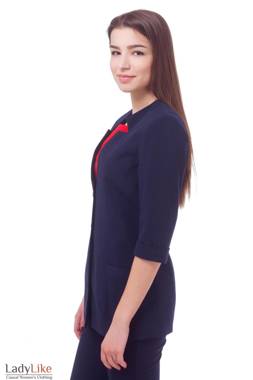 Купить жакет синий удлиненный с коротким рукавом Деловая женская одежда