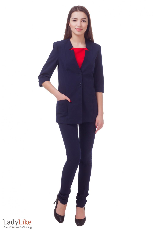 Купить удлиненный синий жакет с коротким рукавом Деловая женская одежда
