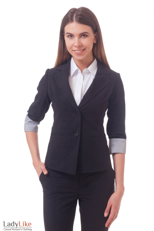 Жакет удлиненный с рукавом три четверти черный — купить в интернет ... db7c0ca0d1a