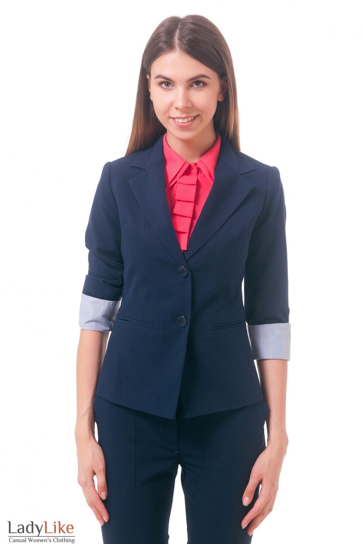 Фото Жакет удлиненный с рукавом три четверти темно-синий Деловая женская одежда