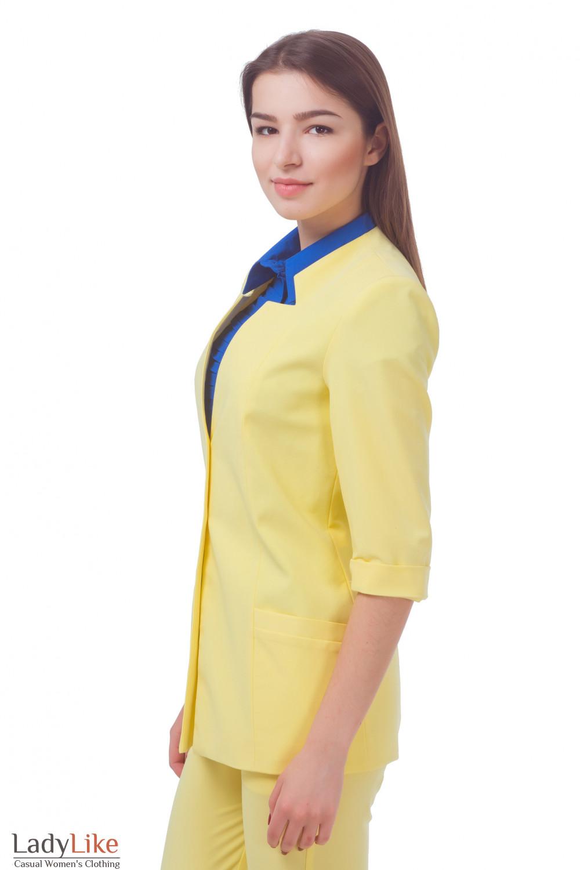 Купить жакет желтый удлиненный с коротким рукавом Деловая женская одежда