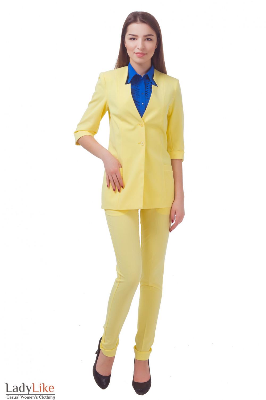 Купить желтый брючный костюм Деловая женская одежда