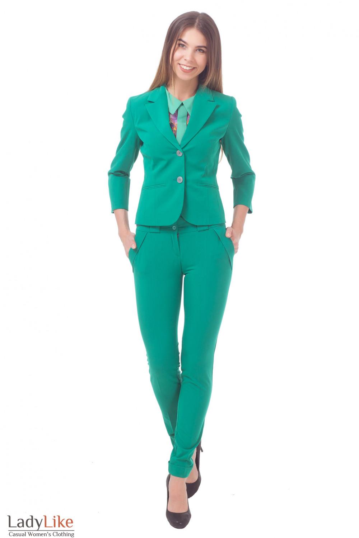 Купить женский зеленый костюм Деловая женская одежда