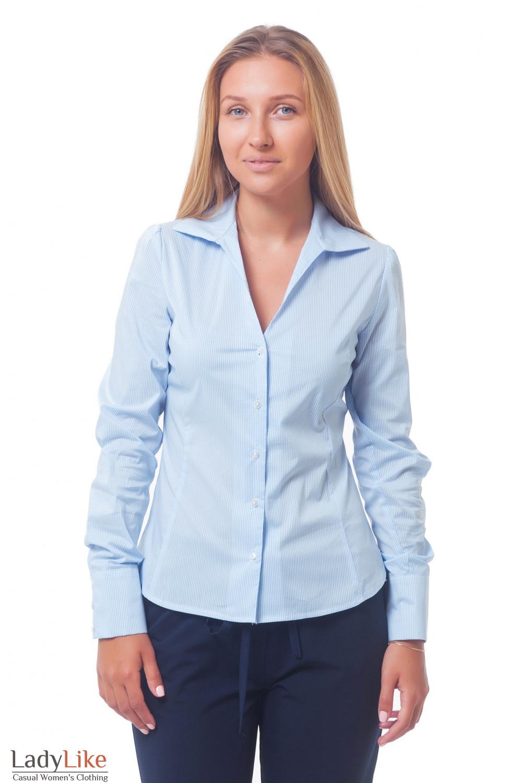 Женская блузка в голубую полоску Деловая женская одежда