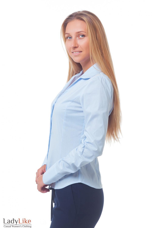 Купить женскую блузку в голубую полоску Деловая женская одежда