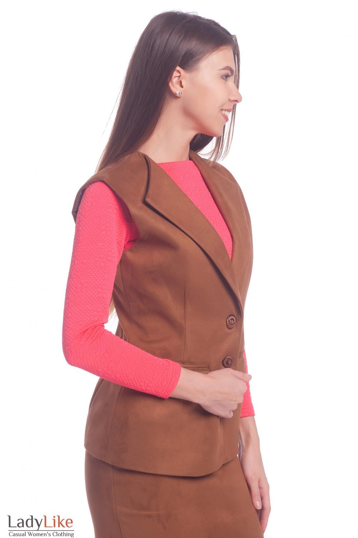 Купить теплый коричневый жилет из замша Деловая женская одежда