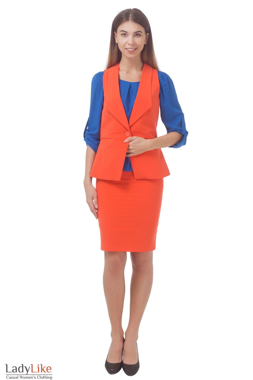 Купить женский оранжевый костюм Деловая женская одежда