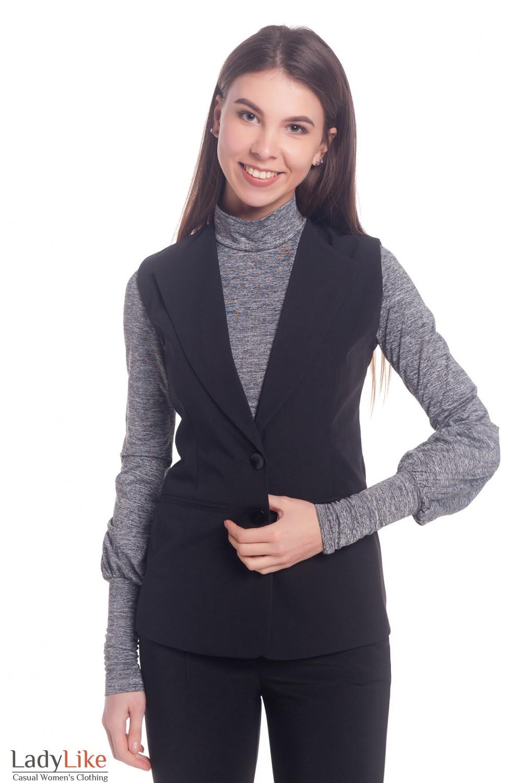 Жилет женский удлиненный черный Деловая женская одежда