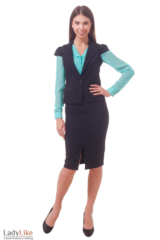 Фото Черный костюм Деловая женская одежда