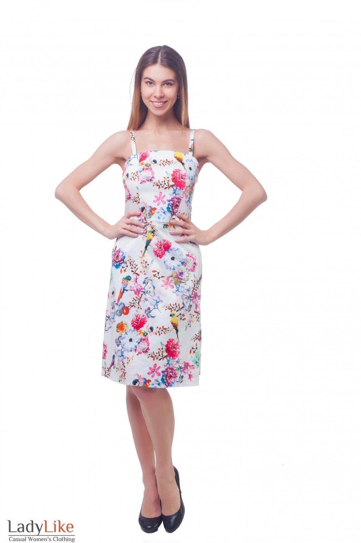 Купить белый сарафан на тонких бретелях в цветы Деловая женская одежда фото