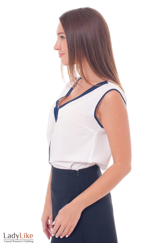 Купить белый топ с синей вставкой Деловая женская одежда фото