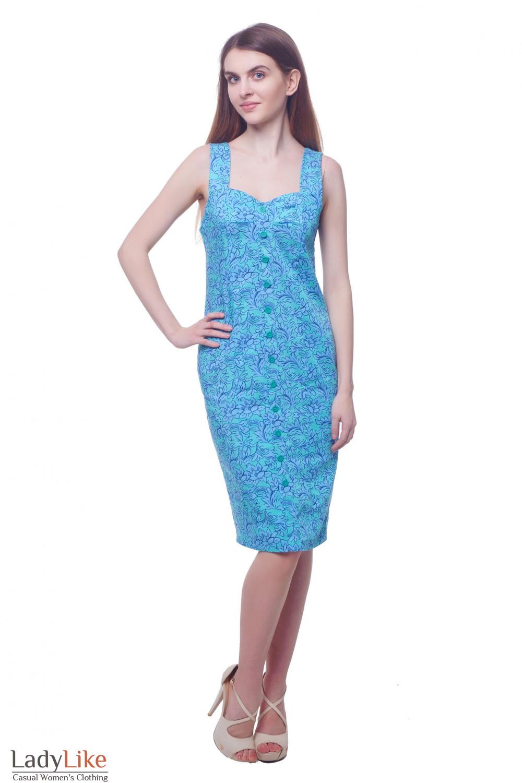 Купить летний бирюзовый сарафан на широких бретелях Деловая женская одежда фото