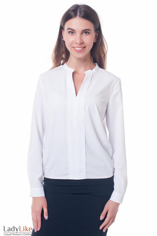 Блузка белая с резинками сбоку Деловая женская одежда фото