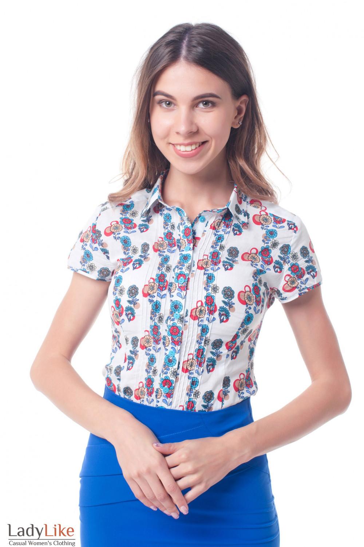 Блузка белая в цветочек с защипами Деловая женская одежда фото