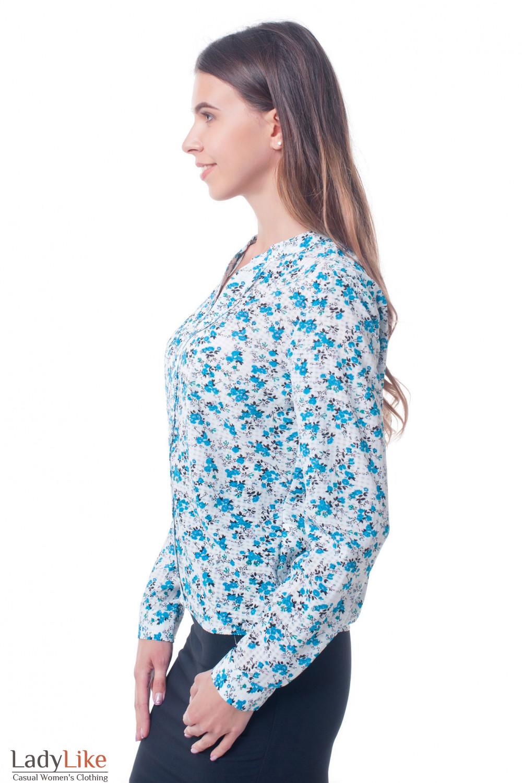Купить блузку белую в цветок с резинкой сбоку Деловая женская одежда фото