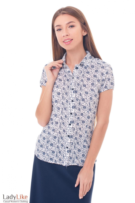Блузка белая в синюю веточку Деловая женская одежда фото