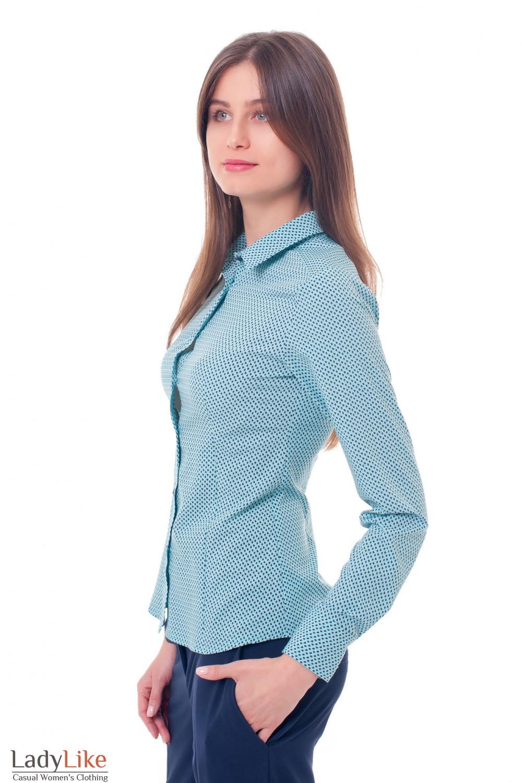 Купить блузку бирюзовую с синими точками Деловая женская одежда фото