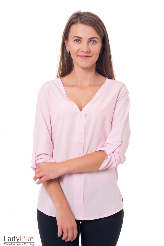 Блузка бледно-розовая из вискозы Деловая женская одежда фото
