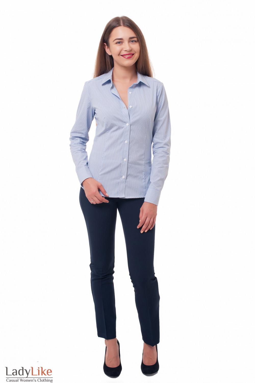 Деловая женская одежда Блузка классическая полосатая фото
