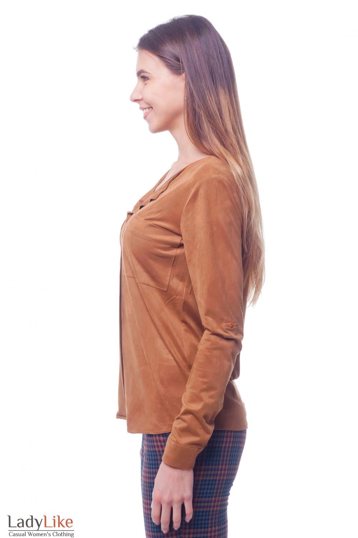 Купить блузку коричневую с карманами на груди Деловая женская одежда