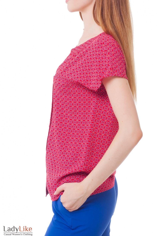 Купить блузку красную в голубой ромбик Деловая женская одежда