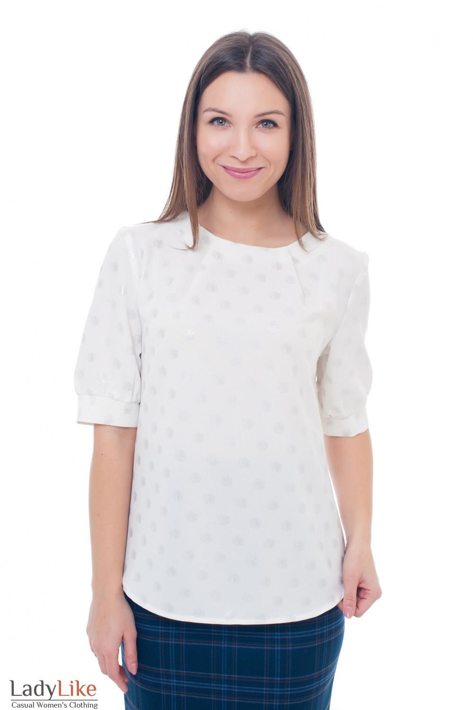 Блузка молочная нарядная с кружками Деловая женская одежда фото