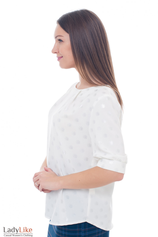 Купить молочную блузку с серебристыми кружками Деловая женская одежда фото
