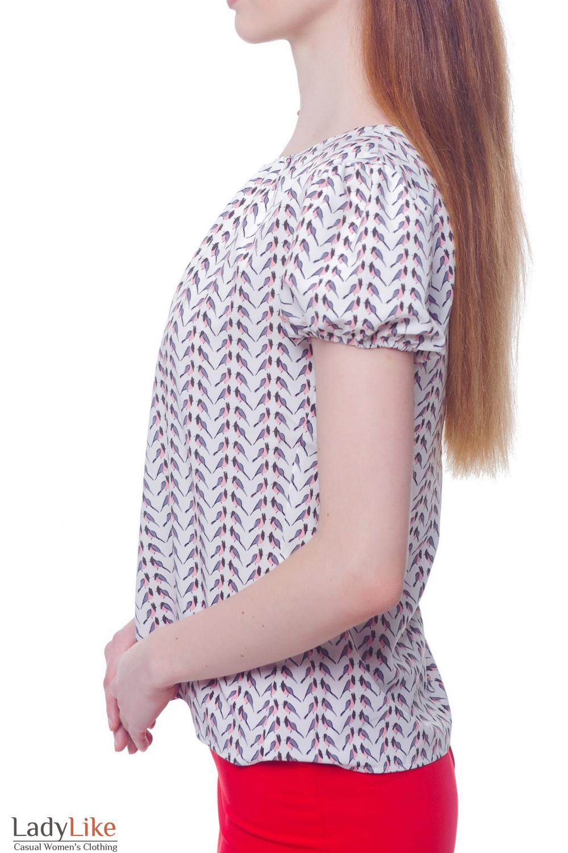 Купить блузку молочную в розовые птички Деловая женская одежда фото