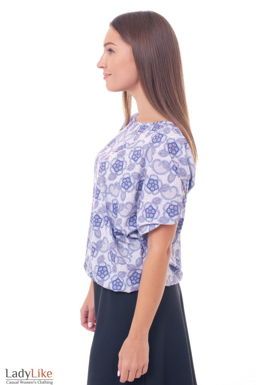 Купить блузку на резинке в сиреневые цветы Деловая женская одежда фото