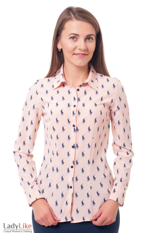 Блузка персиковая поло Деловая женская одежда фото