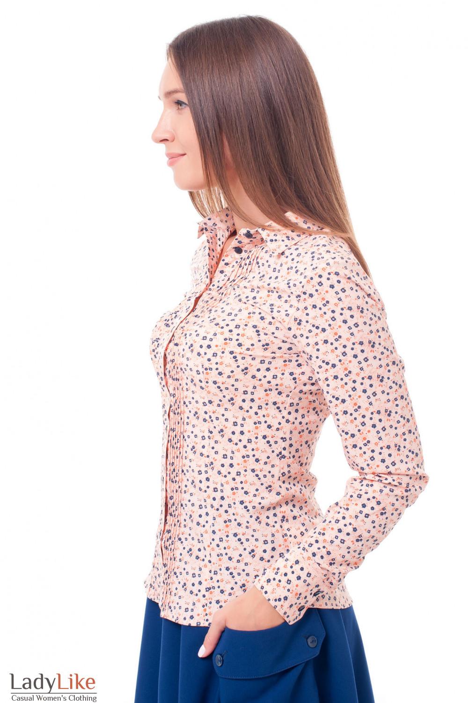 Купить блузку персиковую с защипами Деловая женская одежда фото