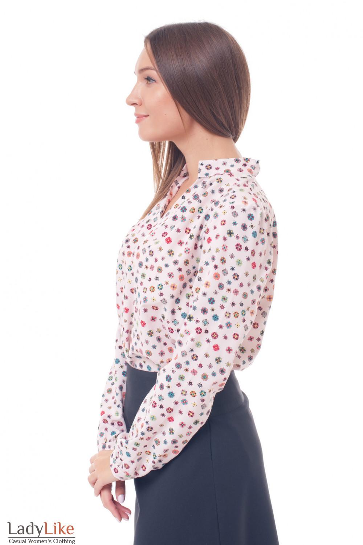 Купить блузку розовую со стойкой в ромбики Деловая женская одежда фото