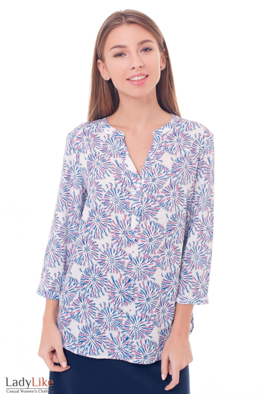 Блузка с планкой с сиреневые цветы Деловая женская одежда фото