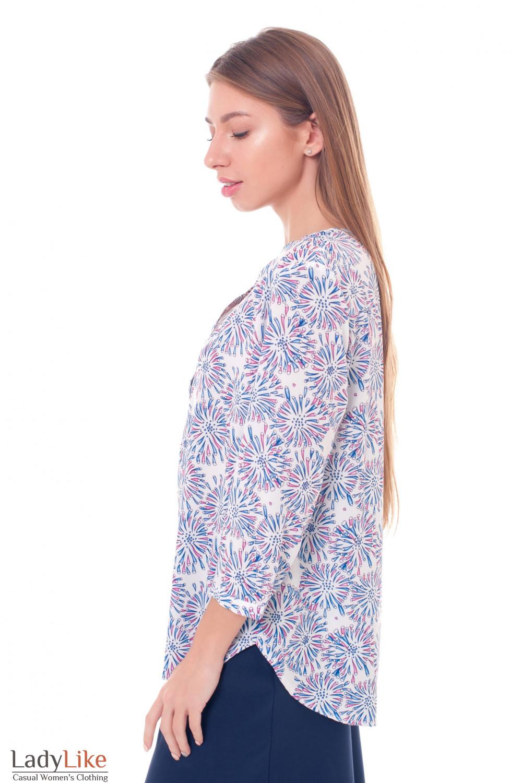 Купить блузку с планкой в сиреневый узор Деловая женская одежда фото